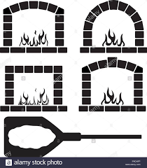 Vector Black And White Clipart Set Of Ovens With Burning Fire Pizza On A Shovel