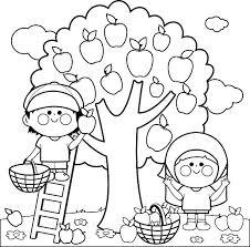 Kids Harvesting Apples Coloring Book Page Vector Art Illustration Picking