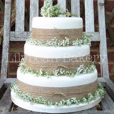 Rustic Wedding Gypsophila And Hessian Cake
