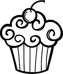 Free Black and White Cupcake Clipart