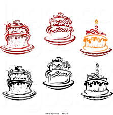 Royalty Free Clip Art Vector Logos of a Red Orange and Black Birthday Cakes