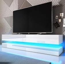 tv lowboard fly in hochglanz weiß tv unterteil 2 teilig 140 x 45 cm inkl led beleuchtung