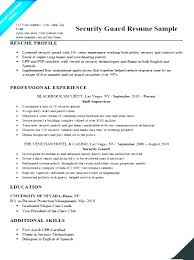 Entry Level Security Officer Resume Guard Sample