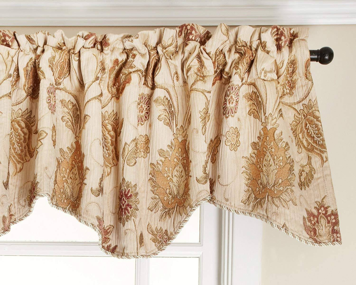 Renaissance Home Fashion Melbourne Chenille Scalloped Valance with Cording, Ivory, 52-Inch by 17-inch