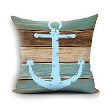 Home Decorative Nautical Anchor Rustic Wood Cotton Throw Pillow Cover 18