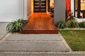 light oak decking oil on merbau decking landing by front door