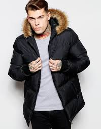 good for nothing padded jacket with faux fur hood in black for men