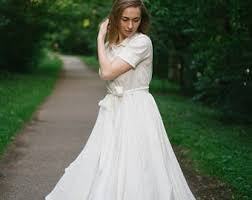 Casual Wedding Dress White Rustic Linen Short Sleeve