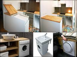 Tiny House Washer Dryer Withal Hidden Small Space Storage