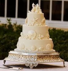 White On Seashell Wedding Cake