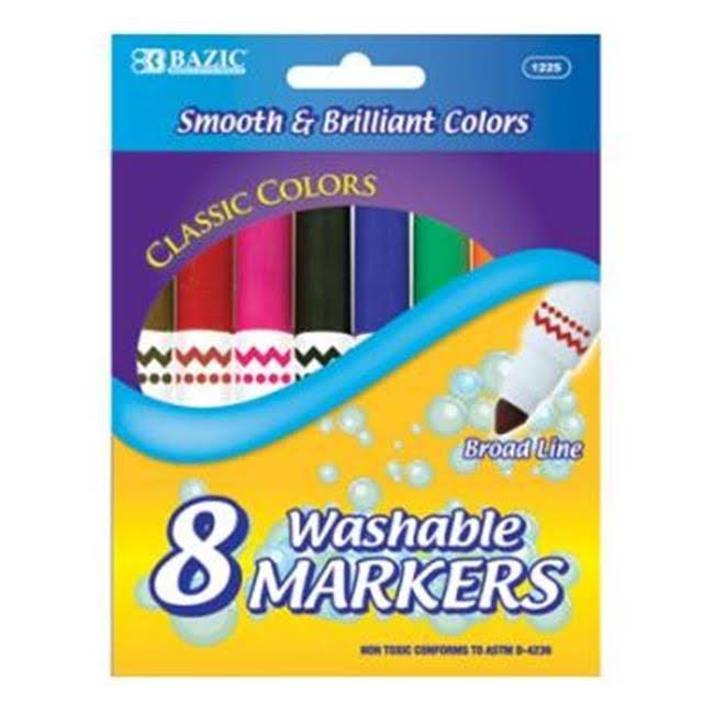 Bazic Broad Line Jumbo Washable Markers - 8pcs