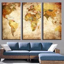 3 Pcs Set Vintage Painting Framed Canvas Wall Art Picture Classic Map Print Modern