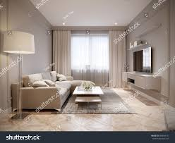 Modern Beige Gray Living Room Interior Design With Large Light Sofa And White Curtains