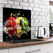 murando spritzschutz glas für küche 60x60 cm küchenrückwand küchenspritzschutz fliesenschutz glasbild dekoglas küchenspiegel glasrückwand gemüse