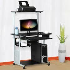 yaheetech computertisch schreibtisch mit rollen homeoffice büro wohnzimmer arbeitstisch pc tisch stabil 80 x 50 x 132 cm