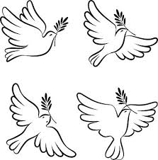 Flying dove vector sketch set Dove of Peace