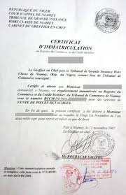immatriculation chambre de commerce eregulations niger