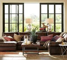 turner roll arm leather 4 piece chaise sectional pottery barn