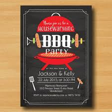 Housewarming Invitation Bbq Birthday BBQ New House Party Chalkboard Backyard Barbecue