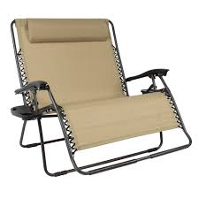 Best Choice Products 2-Person Double Wide Folding Zero Gravity Chair Patio  Lounger W/ Cup Holders -Beige