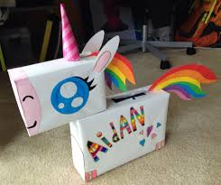 Rainbow Unicorn Valentines Box Made Using Cereal Boxes Craft Paper Tape