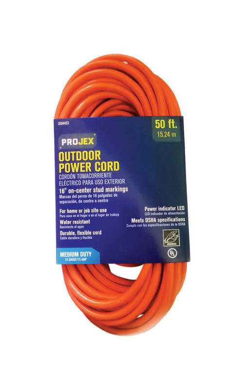 Projex 3504453 In Out Extension Cord - Orange, 14 Gauge, 50'