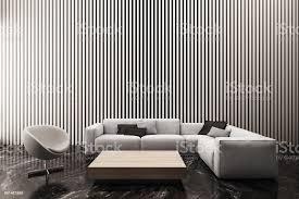 moderne wohnzimmer schmücken die wand mit weißen senkrechten latten muster 3d rendering stockfoto und mehr bilder architektur