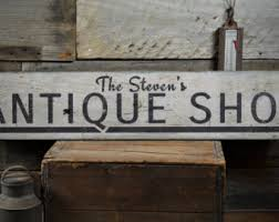 Antique Shop Wood Sign Custom Arrow Lover Gift Owner Family Name