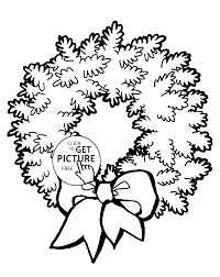 Wreath Coloring Page With Bow Pages For Kids Printable Free Drawing