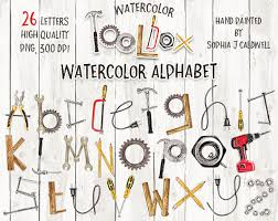 Alphabet Clipart Digital Download Hand Painted Woodworking Tool Themed Clip Art Letters