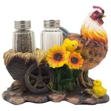 Mother Hen And Chicks Glass Salt Pepper Shaker Set With Decorative Sunflowers Old Fashioned