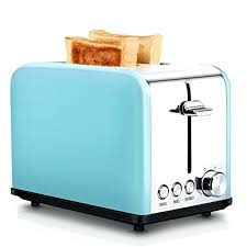 Blue Toaster Compact Stainless Steel 2 Slice Extra Wide Slots Cool Touch Toasters For Bagels Bread