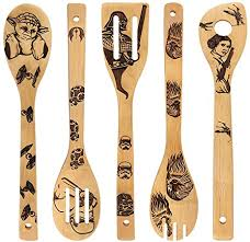 war burned wooden spoons utensil set gift idea cooking serving utensils bamboo kitchen house warming presents slotted spoon 5