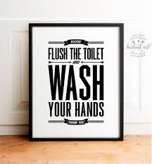 Printable Bathroom Occupied Signs by Flush Sign Bathroom Decor Printable Art Flush Toilet Sign