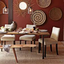 Rectangle Brown Rustic Wood Dining Table And White Chairs Also Sculptured Rug Creative Round Rattan Wall Decor Floor Decorating Ideas