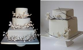 Pearlized Snow Berry Winter Wedding Cake By Bumble Bee Cakes UK Left