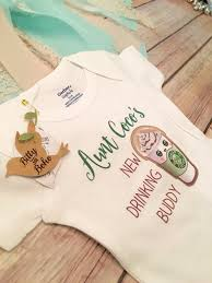 unique baby gift aunt drinking buddy onesie baby girl