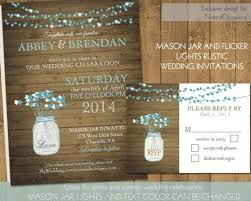 Mason Jar Wedding Invitations Rustic Country With Flowers And Dangling Lights