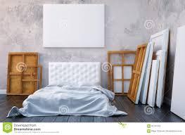 3d übertragen schlafzimmer mit einem bett und die bilder auf