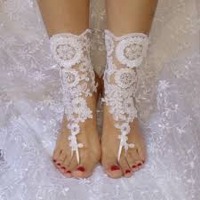 Free Ship White Beach Wedding Barefoot Sandals Shoe Prom