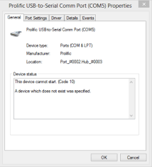 prolific usb to serial fix official solution to code 10 error