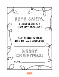 Dear Santa Christmas List Coloring Page