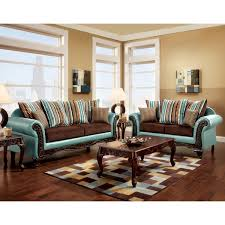 furniture of america destane 2 piece teal transitional sofa set