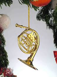 Gold Music French Horn Musical Instrument Ornament NEW