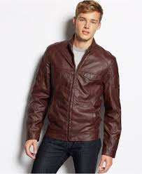american rag faux leather moto jacket in brown for men lyst