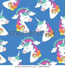 Cute Unicorn And Rainbow Drawings On Blue Seamless Endless Repeating Pattern Texture Vector Illustration Design