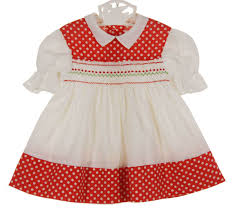 vintage 1960s polly flinders white smocked dress with red polka
