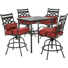 Hanover Montclair 5-Piece High-Dining Patio Set In Chili Red With 4 ... Fascating Table Argos Repel Tables Corner St Design Standard Charthouse Counter Height Ding And 6 Stools Gray Value Bar Sets Canada Small Black Square Dinette Round Tommy Bahama Outdoor Living Kingstown Sedona 3 Piece Pub Set 25 Best Bar Stool Patio Set 59 Beautiful Gallery Ipirations For Patio Hire Chairs Target Highboy Space Office Room Chair Darlee Mountain View Cast Alinum Sling High Fniture And In Orland Park Chicago Il Darvin