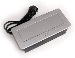 versenkbare einbau steckdose in silber für küche und büro mit softöffnung 1 8m kabel ideal für arbeitsplatte als tischsteckdose bodensteckdose
