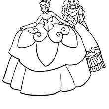 2 Well Dressed Princesses Coloring Page